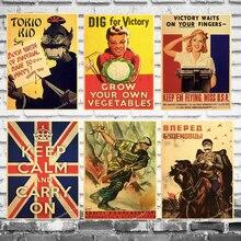 WW2 mantener la calma llevar en Inglaterra América lienzo pintura Vintage pared Kraft carteles recubiertos pared pegatinas decoración del hogar imagen