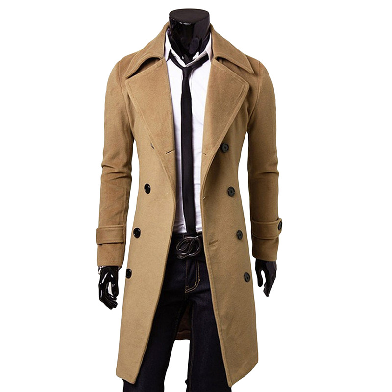 Men Long Trench Coat Autumn Winter Double Breasted Turn Down Collar Overcoat 4XL Plus Size Male Warm Cotton Oversized Jacket