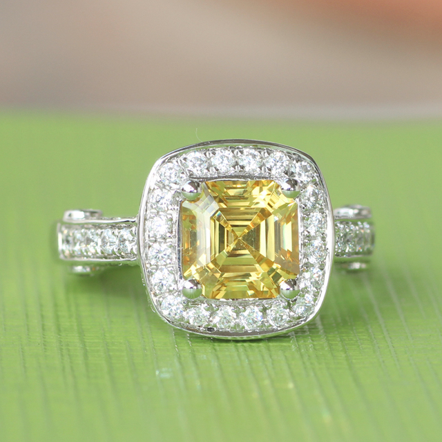 Genuine14k 585 White Gold Absolute High Quality 2 Carat Asscher Cut NSCD Simulated Yellow Diamond  Enagement Wedding Gold Ring