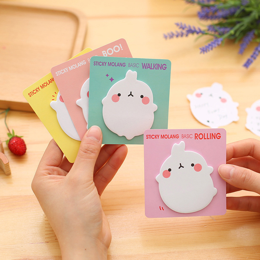 Free Shipping Mini Cute Kawaii Molang Memo Pads Lovely Cartoon Rabbit Post It Note For Kids Gift Creative Novelty Stationery
