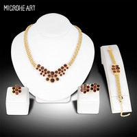 2017 New Top Quality Italina Rigant Elegant Flower Jewelry Sets With Austrian Crystal Stellux Brown Gold