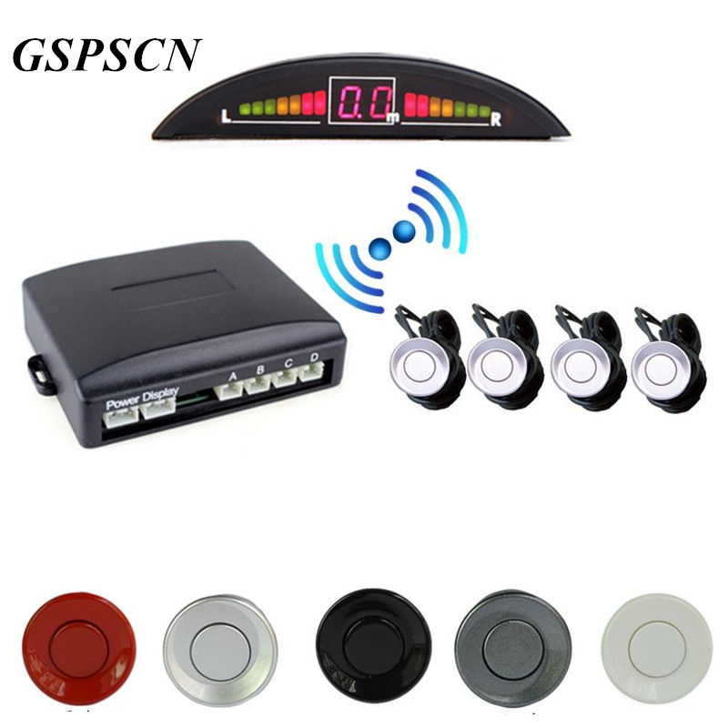 GSPSCN 2.5M Range Car Parking 4 Sensors Reverse Backup Rear Volume Warning Radar System Kit Sound Alarm with LED Display