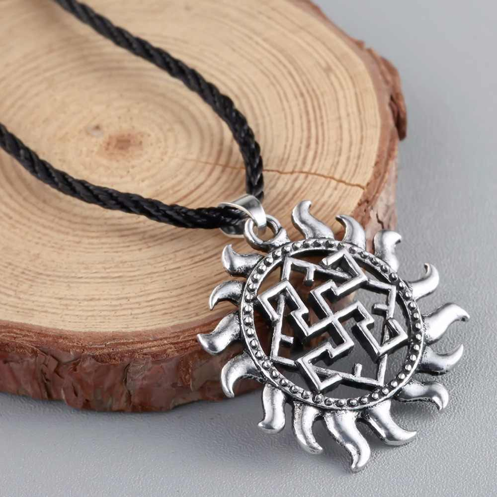 CHENGXUN Rus amulety i talizmany naszyjnik Viking biżuteria słowiański wisiorek paproć gwiazda kwiatowa Vintage Charm Nordic etniczne wisiorek