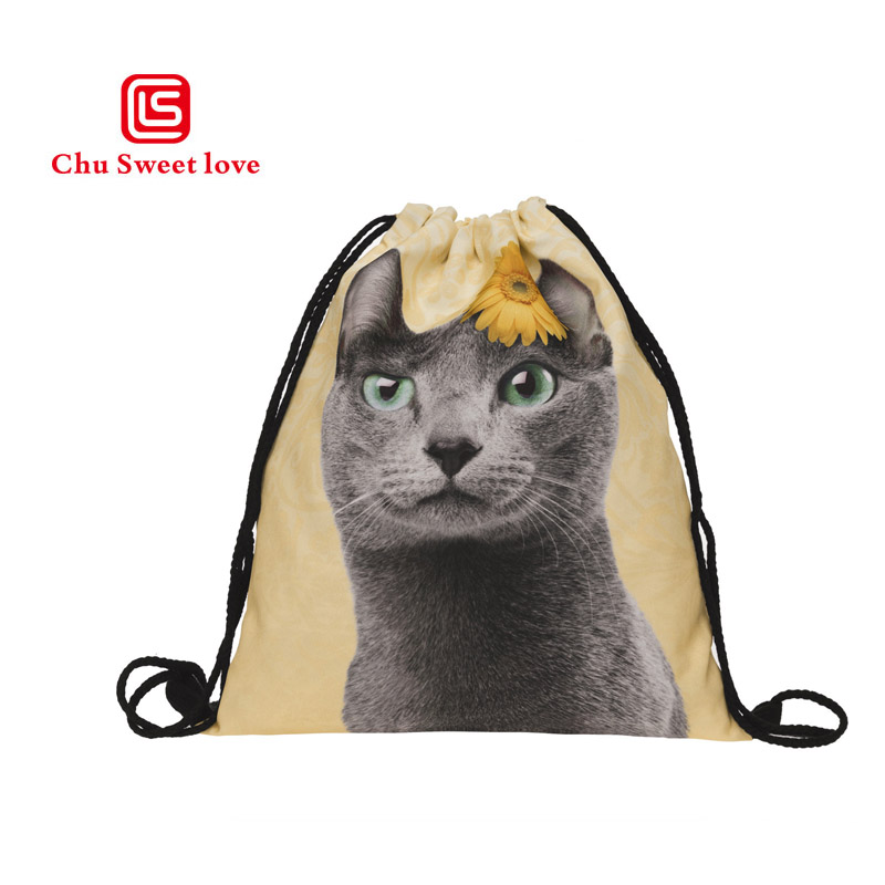Yellow Casual Drawstring Backpacks Cute Cat Pattern Portable Folding Travel Softback Man Women Bags Storage Drawstring Bags