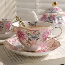 Набор кофейных чашек и блюдца в британском стиле с розовой краской в золотистой косточке, высококачественный набор для послеобеденного чая, в пасторальном стиле, Цветочная чайная чашка