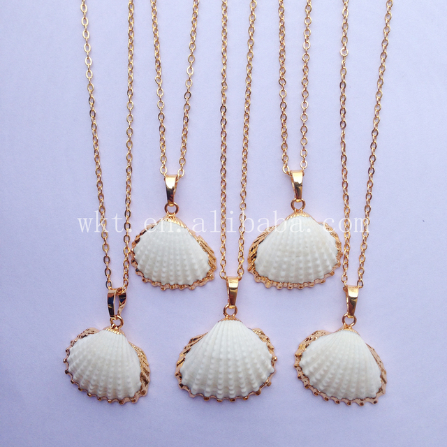 necklace wholesale fashion women crystal scallop pearls item jewelry imitation promotion pinksee pc pendant new