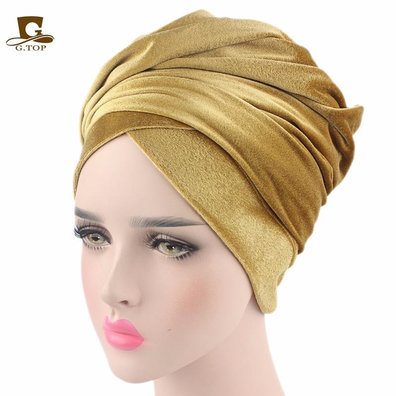 Nueva moda mujer terciopelo turbante diadema abrigo Hijab extra largo - Accesorios para la ropa - foto 6