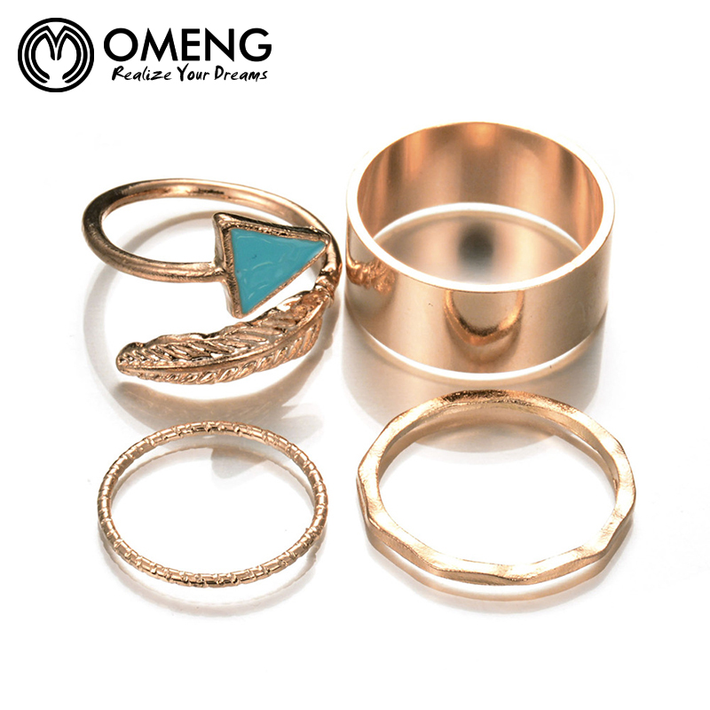 omeng 4pcs lot triangle turquoise leaf gold plated stacking midi finger knuckle rings charm ring set for women jewelry ojz063 - Turquoise Wedding Rings