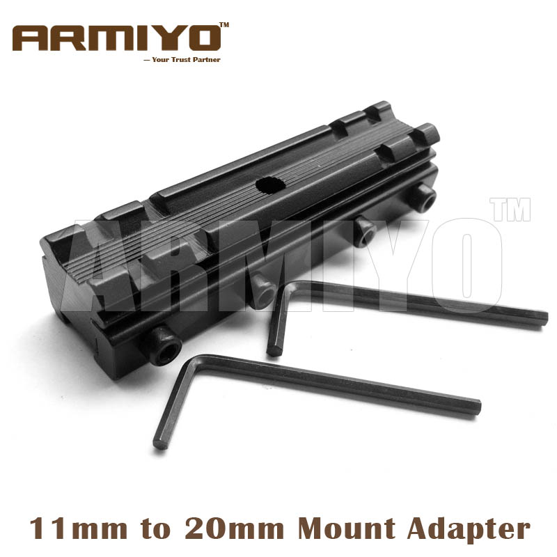 Armiyo 90mm Length Extension 11mm To 20mm Rail Rack Adapter Scope Mount Converter Hunting Shooting Accessories