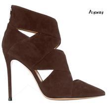 Aiyoway Women Shoes Pointed Toe High Heels Pumps Autumn Summer Sandals Cross Strap Back Zipper Party Clubwear Shoes Faux Suede cross strap back zipper sandals