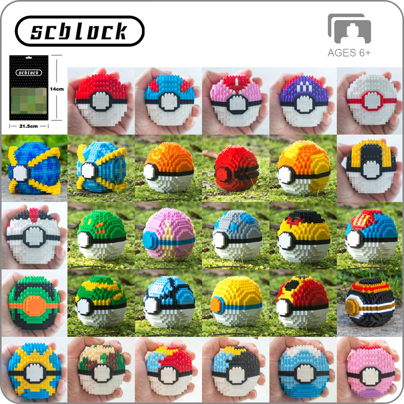 Practical Lno 157 Game Pikachu Poke Ball Pocket Monster 3d Model 1968pcs Diy Diamond Mini Building Nano Blocks Bricks Assembly Toy Gift Blocks