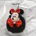 Cute  Mickey Minnie  chain Genuine Leather  Rabbit fur ball plush keychain car  key ring  Bag charm Gift