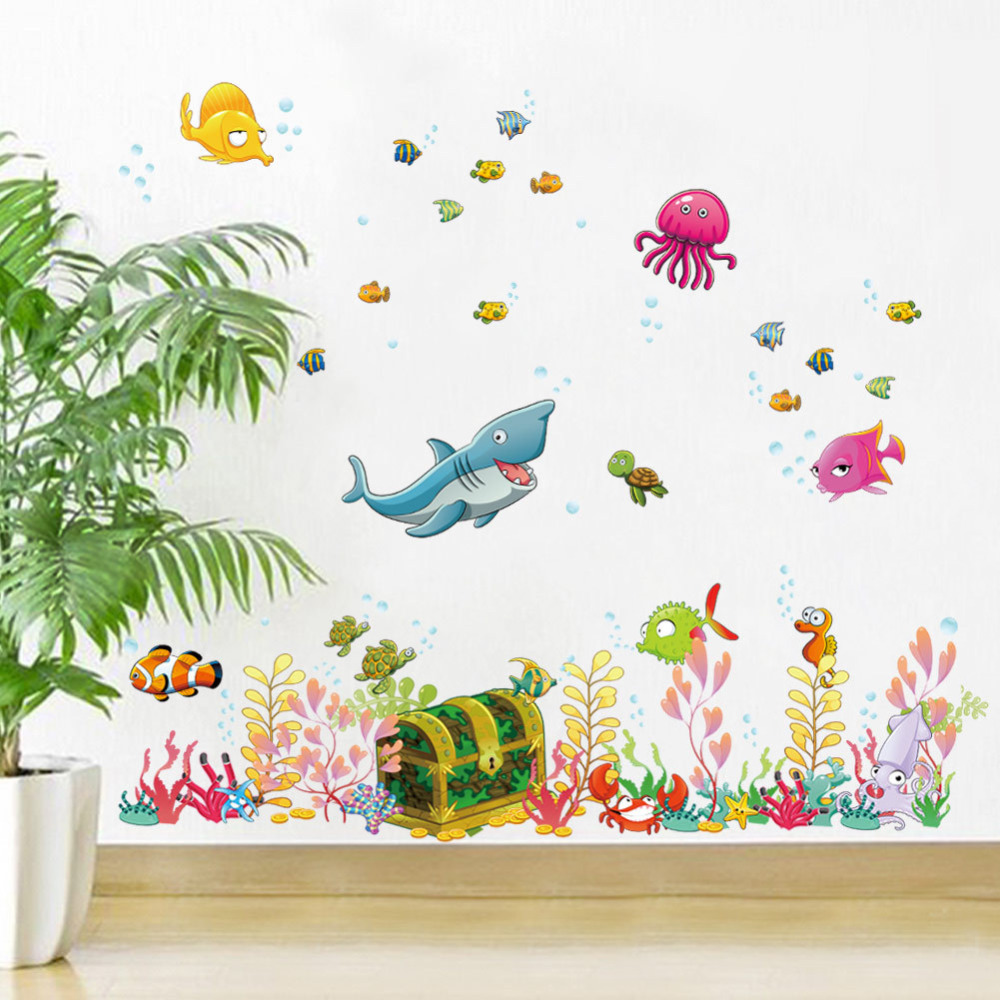 Cartoon diy wall stickers underwater world sea various shark fish cartoon diy wall stickers underwater world sea various shark fish ocean art decor mural kids child room bedroom decal in wall stickers from home garden on amipublicfo Gallery
