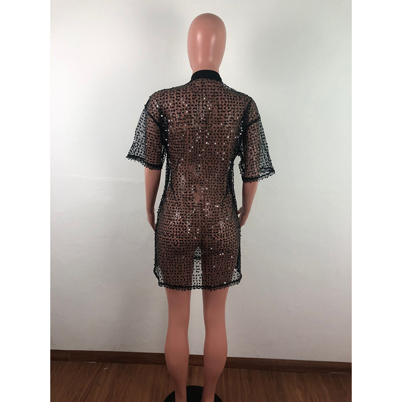 Echoine Casual T Shirt Femme Sequins Shining Black Color See Through Tops Summer Tops For Women 2019