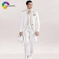 Italian Vintage White Tailcoat Embroidery Men Suits for Wedding Suits Slim Blazer Long Jacket Pants Vest Groom Tuxedo Costume