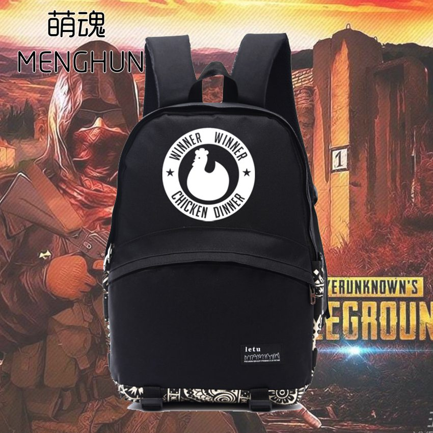 New game concept backpack Player unknown's battlegrounds WINNER WINNER CHICKEN DINNER backpack school bag gift for game fans