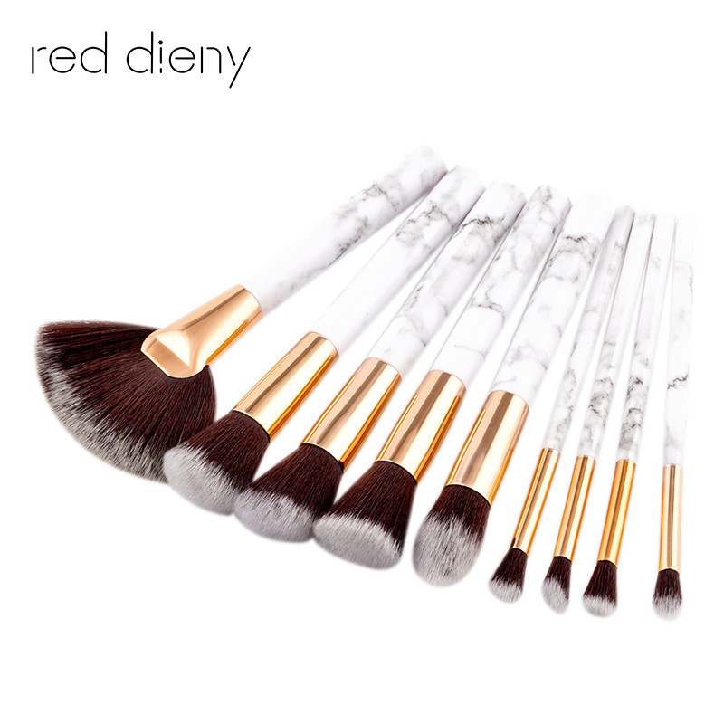 9Pcs/Set Professional Makeup Brushes Marbling Handle Eye Shadow Eyebrow Lip Eye Make Up Brush Comestic Tools free ship stylish people and american flag pattern 10cm width men s wacky tie