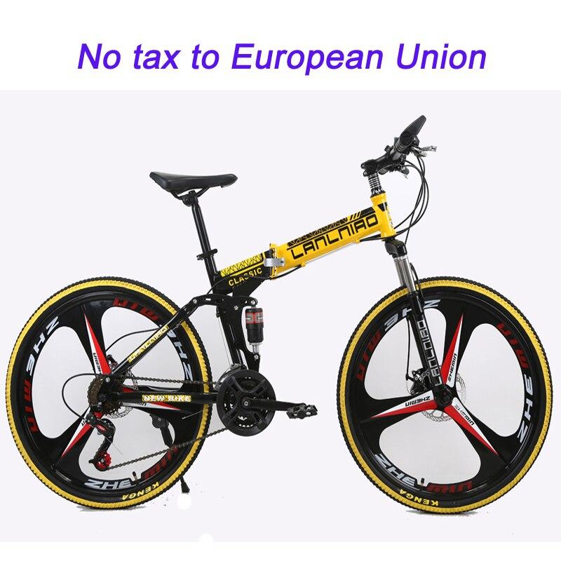 21 vitesse montagne de pliage vélo 26 pouces freins à double disque montagne vélo double amortissement 6 roue de couteau et 3 roue de couteau vélo