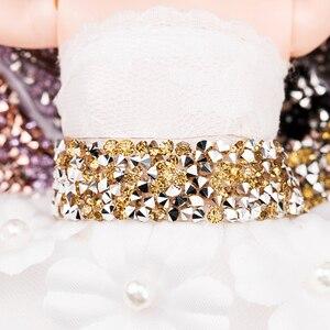Image 4 - QIAO 1yard/rulo 1.5cm moda taklidi bant Trim reçine kristal dekorasyon için kırpma DIY ayakkabı bantlama konfeksiyon şapka parlak