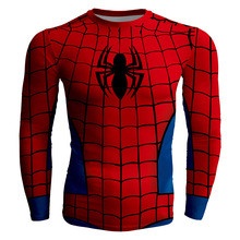 2017 Summer Hi-Q Quick-dry Slim Fitness Men's T-shirt Long Sleeve Male Tees Comic The Amazing Spider-Man Superman Batman Prints