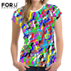 FORUDESIGNS Summer Women Short Sleeved T Shirt Crop Top Mixed Color Woman Shirts O Neck Elastic