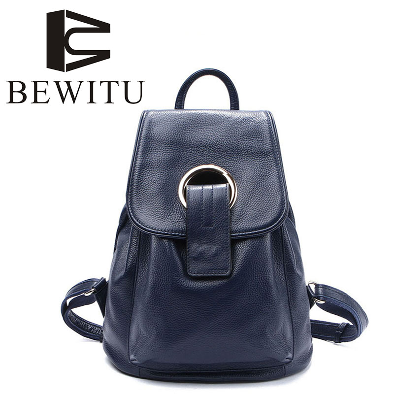 Ladies Genuine Leather Backpack Fashion First Layer Leather Travel Bag Leisure Interior Slot Pocket College Female Backpack