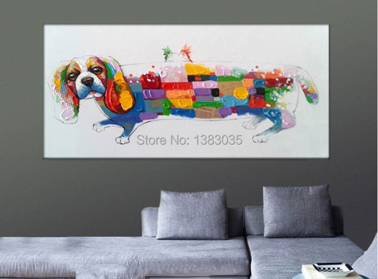 Hand Painted Colorful Cartoon Dog Animal Canvas Painting Oil Picture Wall Art Decoration In