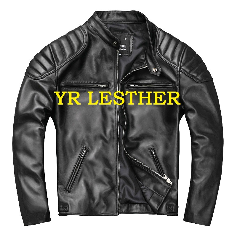 YR!Free Shipping.outlet Soft Sheepskin.black Motor Style Leather Jacket,fashion Slim Genuine Leather Coat,man Plus Size Jacket.