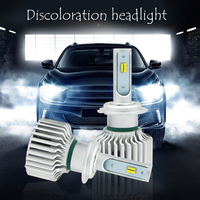 EURS 1Set CarTricolor 3Color LED Headlight T5 H1 H4 H7 H11 HB4 60W 8000LM 3000K 4300K 6000K Yellow White Dual Two Color LED Bulb