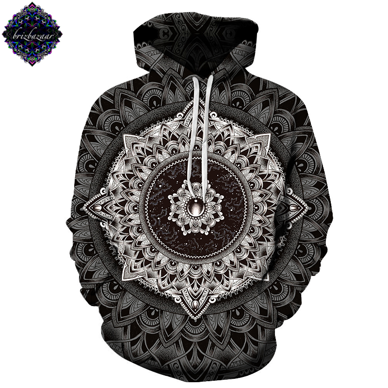 Mandala By Brizbazaar Art Unisex Hoodie 3D Print Sweatshirts Pullover Harajuku Mens Hoody Streetwear Coat for Autumn 2018 Cloth