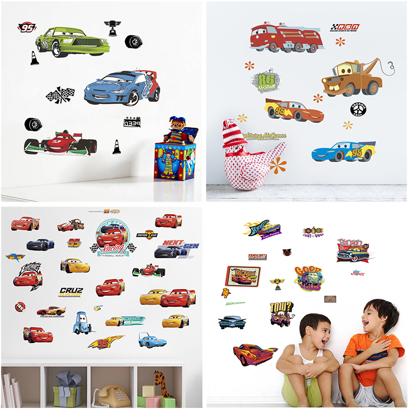 cartoon disney cars wall decals kids rooms living room home decor boy's gifts toys wall decals diy mural art pvc posters(China)