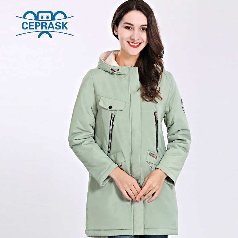 2019 Spring Autum New Women's Coat Thin Women   Parka   Long Plus Size Windproof Hooded High Quality Warm Cotton Jackets CEPRASK