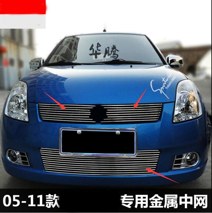 Car styling fit for Suzuki Swift 2005-2008 Quality Stainless steel Car front bumper Mesh Grille Around Trim Racing Grills
