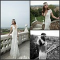 Short Sleeve Wedding Dresses 2016 Winter Berta Bridal Gown Beaded Pearls Fit and Flare Backless Lace Bridal Dresses  ISWD036