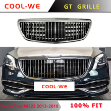 For Mercedes Benz W222 S CLASS GTR Front Bumper Grille ABS Mesh Racing Grille  S500 S600 S500 S550 2013-2019 цена