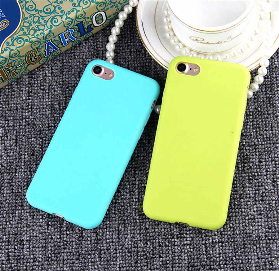 Fundas Phone Case For iPhone 7 6 6s 8 X Plus 6 Cases XR XS Simple Solid Color Ultrathin Soft TPU Cases Candy Color Back Cover