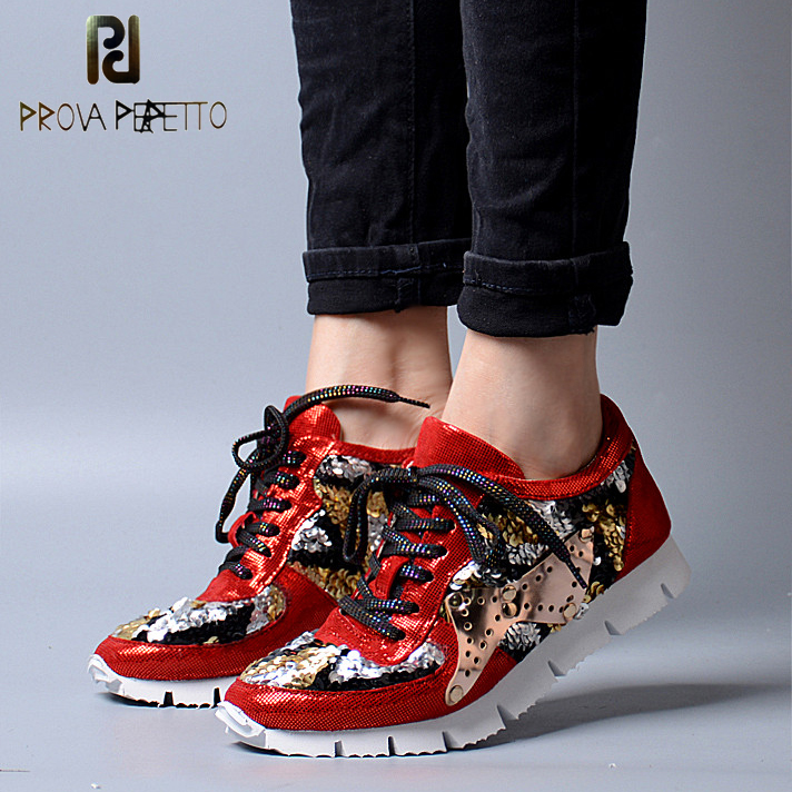 Prova Perfetto Fashion Genuine Leather Korean Women Casual Shoes Lace Up Flat Platform Vintage Shoes Bling Bling Walking Shoes beffery 2018 british style patent leather flat shoes fashion thick bottom platform shoes for women lace up casual shoes a18a309