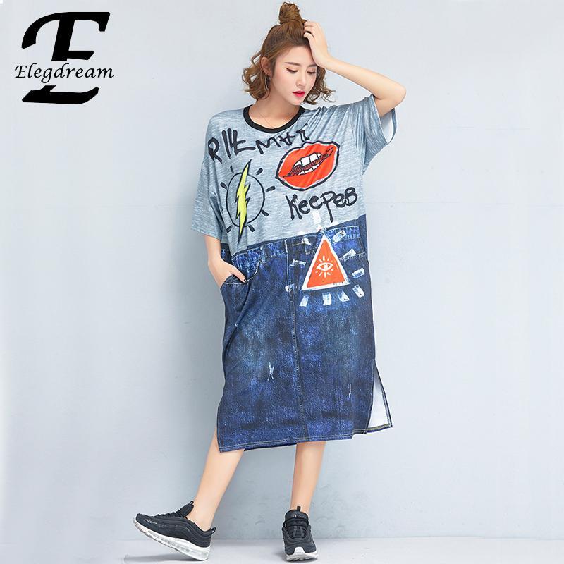 Taille Tunique Robe Bleu Chemise Vêtements D'impression Patchwork La Mode Plus Casual Marque Dames Elegdream Robes Lâche Femme De Longue Bw7z7Tq