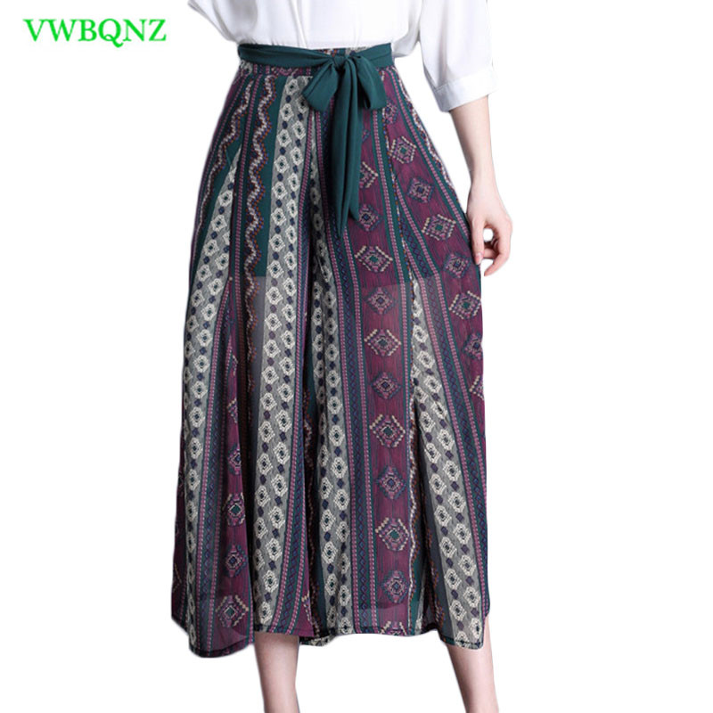 Striped   Wide     leg     Pants   Female Summer 2018 New Loose Chiffon High waist Casual Culottes Women Plus size Nine points   Pants   4XL 689