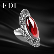 EDI Women Retro 925 Sterling Thai Adjustable Silver Personality Red Garnet Large Engagement Rings Unique Forefinger For Wedding