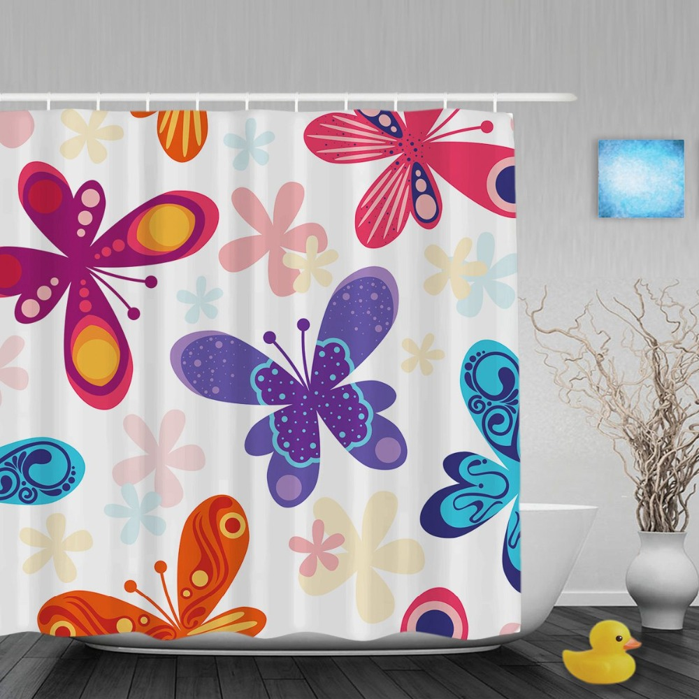Orange And Teal Shower Curtain - Beautiful butterfly flower decor bathroom shower curtains pink purple blue shower curtain waterproof ployster fabric with
