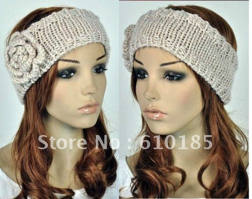 Head Wrap Cap Hand Knit Crochet Cute Flower & Winter Headband