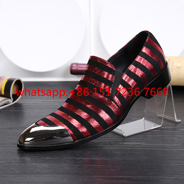 Business Oxfords Party Shoes Red White Stripe Men Ankle Boots Scarpe Uomo Iron Pointed Toe Wedding Dress Shoes Men Leather Flats тостер ariete 186 party time red
