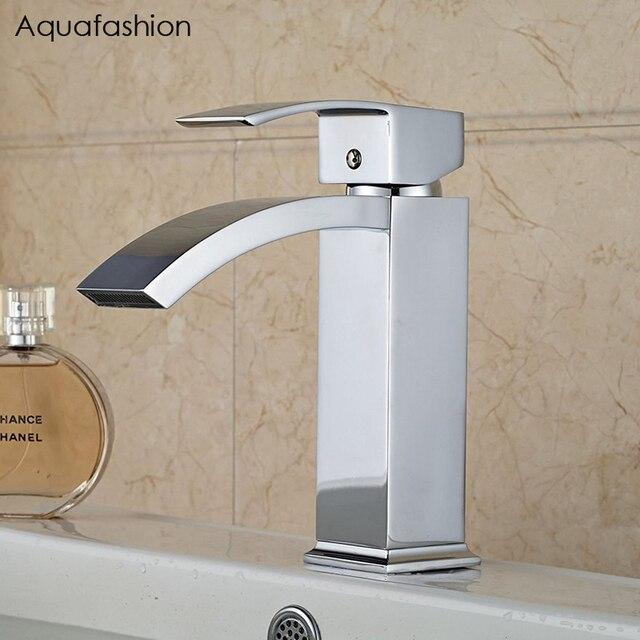 Wasserfall Bad Waschbecken Wasserhahn Chrom Poliert Waschbecken