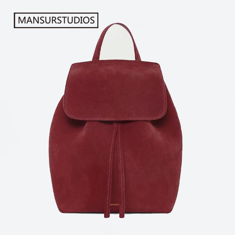 MANSURSTUDIOS women Faux suede backpack mansur lady suede backpack girl leather schoolbag free shipping