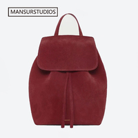 cde43e8cca023 MANSURSTUDIOS Women Faux Suede Backpack Mansur Lady Suede Backpack Girl  Leather Schoolbag Free Shipping