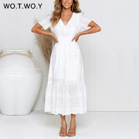 WOTWOY White Embroidered Cotton Ankle Length Dresses Women Summer Chain Hollow Out Slim A Line Long Dress Female Casual V Neck