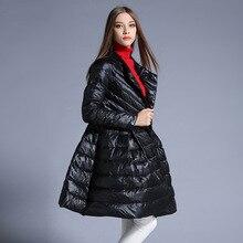 New Arrival 2016 Fashion Women Jacket Long Coat Solid Skirt Full Sleeve Winter Down Coat White Duck Down Warm Women Coats