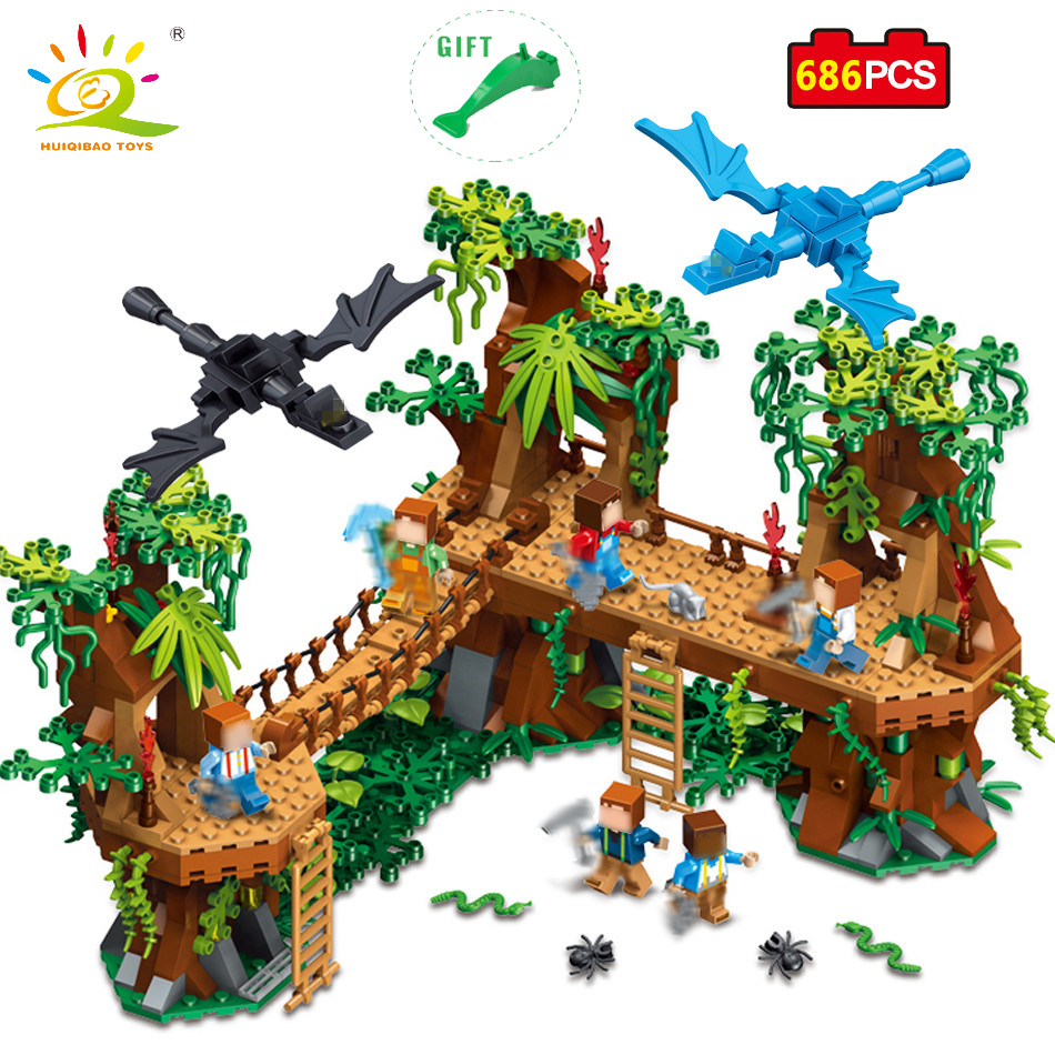 HUIQIBAO TOYS MY WORLD Forest Bridge Building Blocks Dragon Figures Toys For Kids Compatible Legoed Minecrafted city Village цена