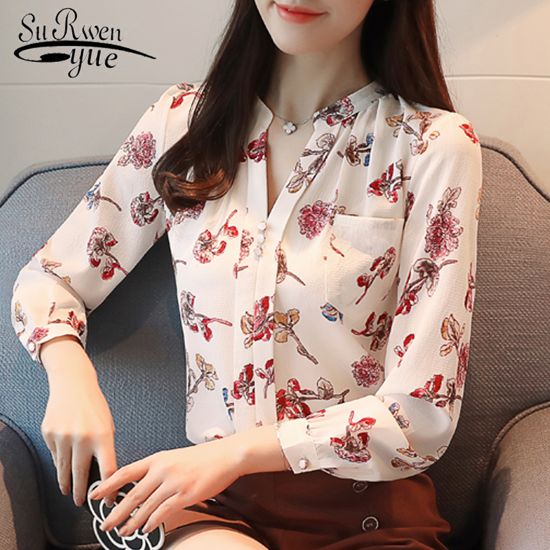 Fashion woman   blouse   2019 long sleeve print chiffon women   blouse     shirt   female ladies tops OL   blouse   women   shirt   blusas Z0001 40